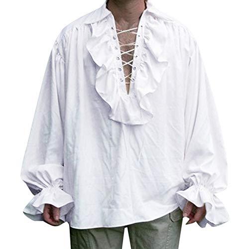 Disfraz renacentista para hombre de manga larga con volantes y cordones medievales steampunk pirata camisa cosplay príncipe drama escenario tops, blanco, L