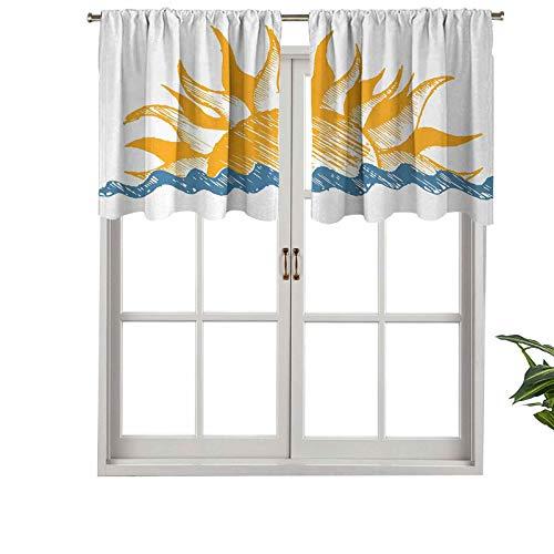 Hiiiman Cortinas para tratamiento de ventana con bolsillo para barra, diseño de la fuente de la vida del sol con vigas de fuego, juego de 2, paneles opacos decorativos para el hogar de 137 x 91 cm