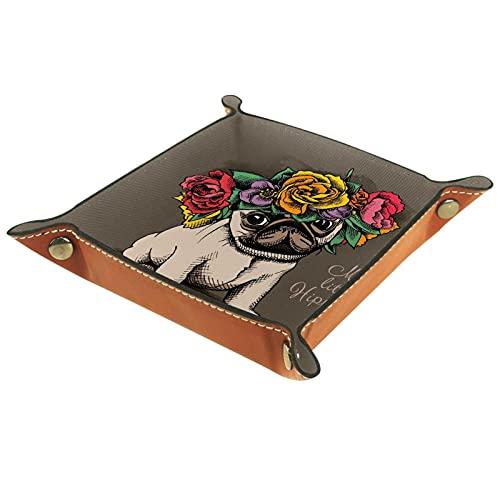 LXYDD Bandeja de Valet de Cuero Multiusos Caja de Almacenamiento Organizador de bandejas Se Utiliza para almacenar pequeños Accesorios,Guirnalda Floral Hippie Pug Puppy Animal Flor