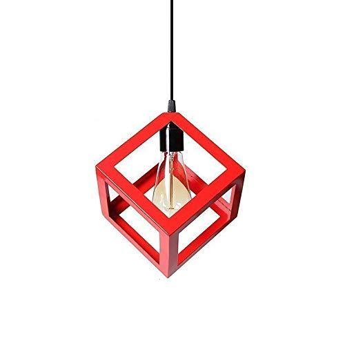 Vintage Industrial lustre/suspensión en forma de cubo rojo, ideal para café, bar o cocina, bombillas E27no incluidas