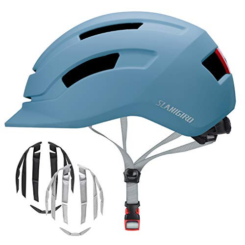 SLANIGIRO Adult Urban Bike Helmet - Adjustable Fit System & Integrated Taillight for Men Women