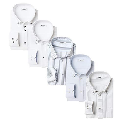 [アトリエサンロクゴ] 長袖 ワイシャツ 5枚セット ストレッチ & ノーアイロン 快適DRY 吸水速乾 ジャストフィット 形態安定 多機能Yシャツ 伸縮自在で着心地抜群 y33-5set メンズ y33-Lセット5 S(首回り37cm)