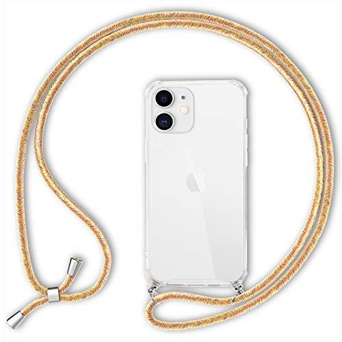 NALIA Carcasa con Cuerda Compatible con iPhone 12 / iPhone 12 Pro Funda, Transparente Hardcase & Correa Colgante para Colgar, Protectora Case & Cordon para Llevar en Cuello, Color:Amarillo Multicolor