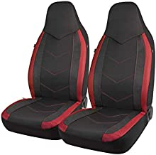 PIC AUTO High Back Car Seat Covers - Sports Carbon Fiber Mesh Design, Universal Fit, Airbag Compatible (Red)