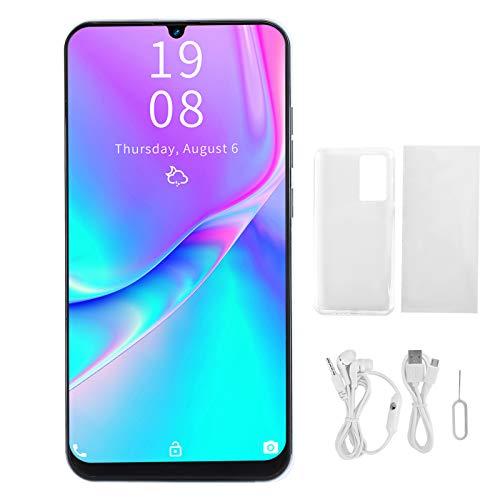 , P40 Pro + Smartphone SIM Teléfonos Android gratuitos desbloqueados, pulgadas Teléfonos inteligentes de pantalla completa Waterdrop, cámara dual de, soporte dual de SIM dual con desbloqueo (blanco)