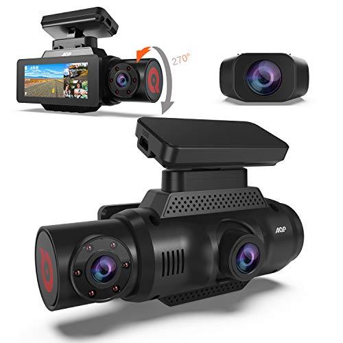 AQP 4K Three Dash Cam 1440P+1080P+1080P Ultra HD Dash Camera, Built-in GPS WiFi Dual Sony Sensors IR Night Vision Parking Monitor