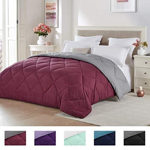 Seward Park Solid, Reversible Color Microfiber Comforter, Hypoallergenic Plush Microfiber Fill, Duvet Insert or Stand-Alone Comforter, Spring/Summer Comforter Lightweight, Full/Queen, Burgundy/Gray