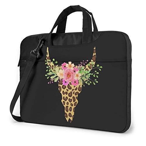 Koh Leopard bloemen schedel laptop schoudertas met handvat dragen Messenger handtas
