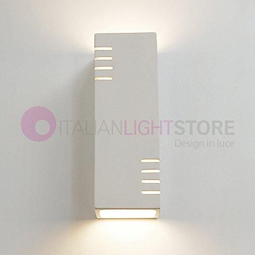 KUBIK Applique Lampada Moderna Rettangolare Doppia Emissione 2x E14 Up & Down A Parete Decorabile In Ceramica Gesso Colorabile Verniciabile - Illuminazione Interni