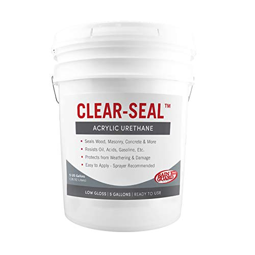 Rain Guard Water Sealers CU- 0205 Water Sealers CU-0205 Clear-Seal Hybrid Acrylic and Urethane Low Gloss Coating READY TO USE covering up to 1500 Sq. Ft on New and Older Surfaces. 5 Gallon