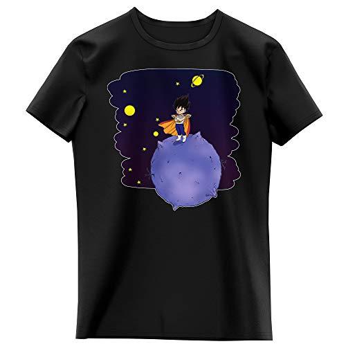 T-shirt Enfant Fille Noir parodie Dragon Ball Z - DBZ - Végéta le petit prince Saiyan - Le Petit Prince de l'Espace (avec décor) (T-shirt enfant de qualité premium de taille 13-14 ans - imprimé en Fr