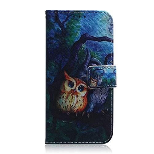 vingarshern Hülle für Huawei Nova 5T Schutzhülle Etui Klappbares Magnetverschluss Lederhülle Flip Hülle Handytasche Huawei Nova 5T Hülle Leder Brieftasche Tasche MEHRWEG(Eule)