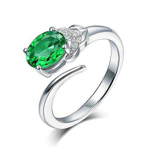 Daesar Anillos de Oro Blanco de 18 Kilates Mujer,Redondo Oval Esmeralda Verde 1.24ct Diamante 0.03ct,Plata Verde Talla 11