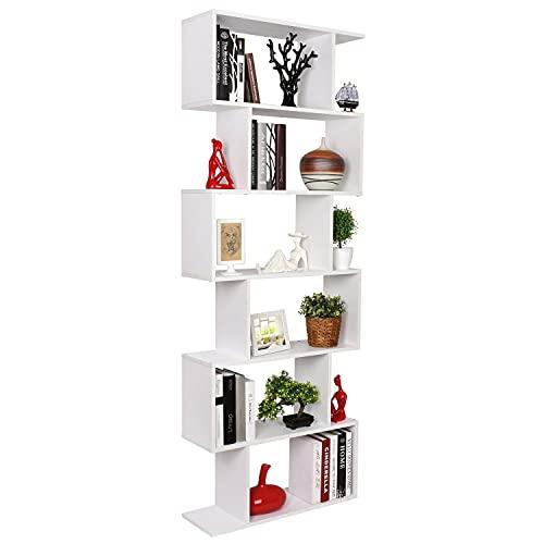 Estantería librería 6 Estantes Estantería Pared Estantería Libros Mueble Salón Madera Armario Contemporáneo Decorativo (Blanco)