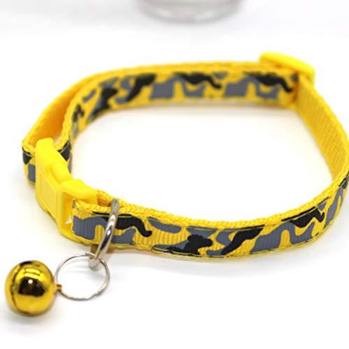Xisonhetry huisdier accessoires kat hond bel kraag nylon koper bel camouflage reflecterende nek ring, 35 * 1CM, 6