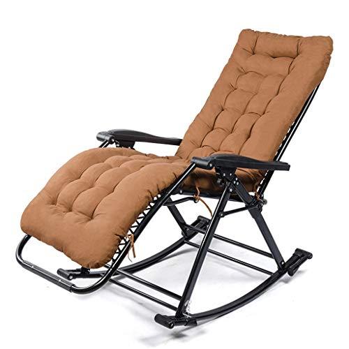 SFGH Sillas Plegables oscilantes for Personas Mayores con cojín, reclinación for el Almuerzo Sillas portátiles de Gravedad Cero al Aire Libre for Pescar (Color : Brown)