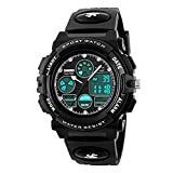 Kids Digital Sports Watch, Bagent Waterproof Analog Wristwatch with Alarm, Led Stopwatch for Boys Girls Children (Black)