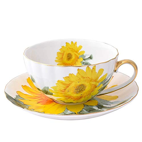 Simple y duradero Copa enjuague bucal Estilo retro Bone China Espresso 2 pieza pequeña taza de café y platillo (Color : Yellow, Size : One size)