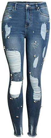 Dames Hoge Taille Stretch Onregelmatige Jeans Gescheurde Sexy Butt Lifting Gewassen Casual Mode Streetwear Skinny Denim Broek