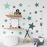 Pandawal Wandtattoo Sterne 30 Wandaufkleber für Junge und Mädchen Kinderzimmer Deko bunte Wandsticker Set Farbe grün grau mint (GS5)