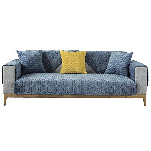 YUTJK Sofá Fundas Antideslizante,Toalla de sofá Cubierta,Protector de Muebles,Lanzar Juegos de Funda de cojín Estar,Funda de sofá Acolchada de Felpa de Color sólido,Vendido por Pieza,Azul