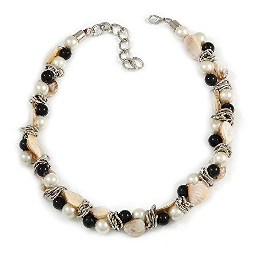 Avalaya Exquisite Cream/Black Faux Pearl & Antique White Shell Composite, Silver Tone Link Necklace - 44cm L/ 7cm Ext