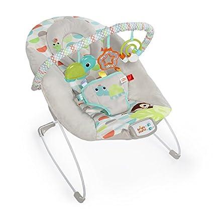 Bright Starts, Hamaca bebé con vibraciones relajantes y melodías, 3 juguetes - Happy Safari