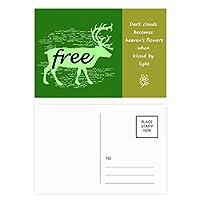 黒い動物の鹿のシルエットのナチュラル 詩のポストカードセットサンクスカード郵送側20個