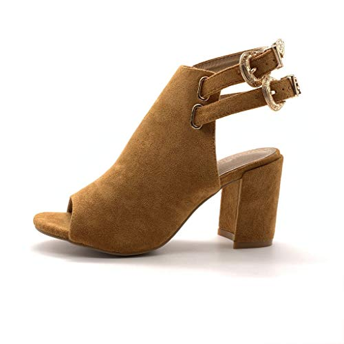 Angkorly - Damen Schuhe Stiefeletten Sandalen - Open-Back - Trendy/Trendig - Glam Rock - Riemen -...