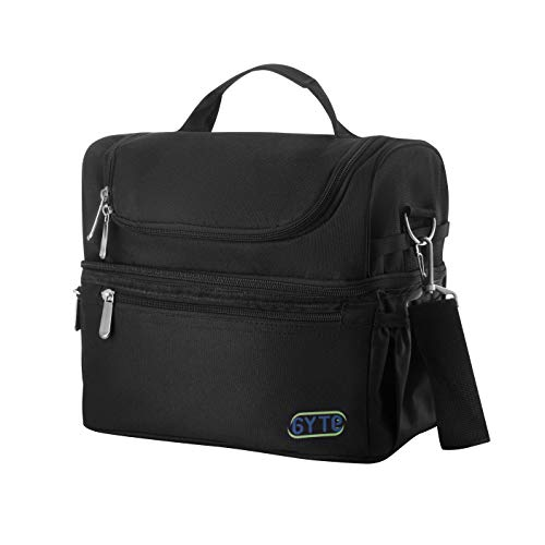 GYTE Insulated Lunch Bag | Large Lunch Box for Men and Women | Meal Prep Lunch Bag with 2 Compartments | Waterproof Adult Lunchbox Includes Side Pocket for Drinks | 10 x 7 x 10 Inches
