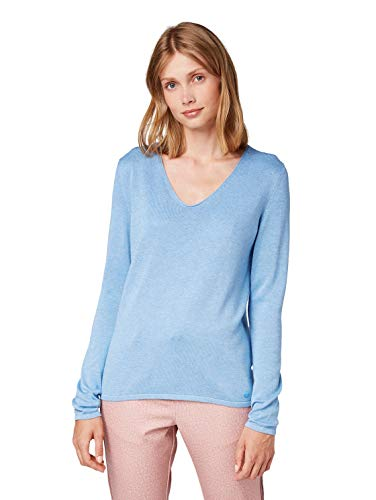 TOM TAILOR Damen Basic V-Neck Pullover, Blau (Sea Blue Melange 15584), XS