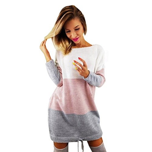Rundhals Strickkleid Damen, SHOBDW Frauen Urlaub Stricken Partei Kleid Langarm Casual Kleid Lässig Strand Mini Kleid (M, Mehrfarbig)