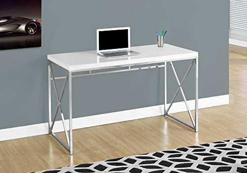 Monarch Specialties Computer Contemporary Home & Office Desk - Scratch-Resistant, 48' L, Glossy White/Chrome Metal