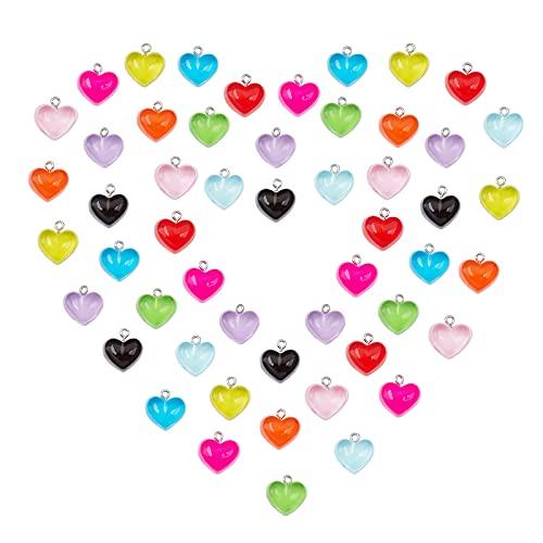 SUNNYCLUE 1 Bolsa 80 Piezas Corazón Resina Dijes Transparentes Color Caramelo Accesorios de Joyería Colgantes con Lazo de Hierro En Tono para Mujeres Principiantes DIY Pendiente Collar Pulsera