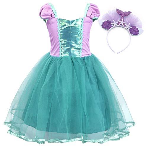 AmzBarley Sirena Vestido Niña Princesa Cumpleaños Tutu Disfraz Traje Princesa Niños Fiesta Partido Cosplay Verde 6-7 Años