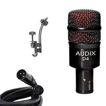Audix D4 Drum Microphone Bundle with XLR Cable and Drum Rim Mic Clip