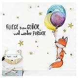Little Deco Wandtattoo Fliege zum Glück & Fuchs mit Luftballons I (BxH) 67 x 47 cm I Kinderzimmer Babyzimmer Aufkleber Sticker Wandaufkleber Wandsticker DL132