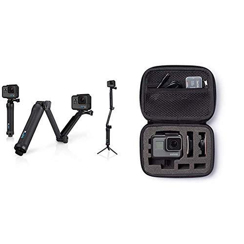 GoPro 3-Way- Soporte portátil para cámara GoPro (hasta 50.8cm), Color Negro + AmazonBasics - Estuche de Transporte para GoPro - Extra-pequeño
