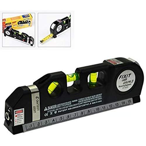 Rangwell Level Laser Plastic Horizon Vertical Measure Tape Aligner Bubbles Ruler Multifunction Leveler Tool (Black)