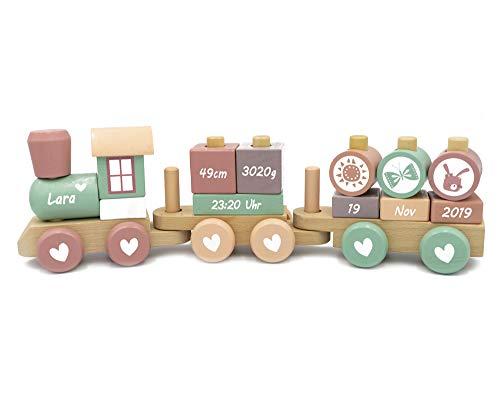 Coverlounge Holz Eisenbahn Lokomotive Zug mit Steckformen ROSA / BLAU   beklebt personalisierbar   zur Geburt und Geburtstag