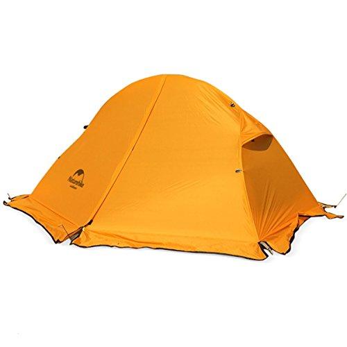 Naturehike テント ポップアップテント シリカゲル テント 自立式 二重層 折りたたみ コンパクト 軽量 防水 PU3000 キャンピング 蚊虫対策 携帯便利 四季適用 1人用 (オレンジ,スカート付き)