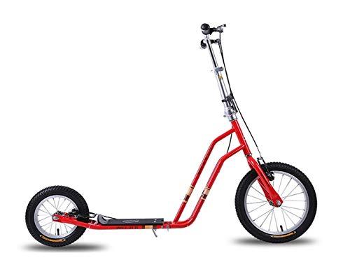 Youpin Big Air Wheel Scooter de altura ajustable, plegable, para adultos, al aire libre, ruedas inflables (color: rojo)