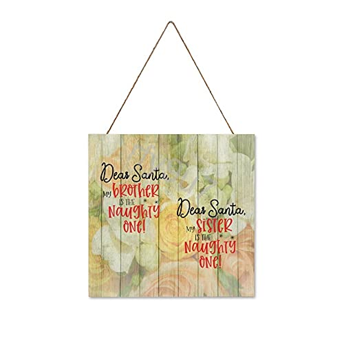 Wood Signs For Home Decor, Dear Santa My Brother Sister Is The Naughty One Funny Bathroom Wall Decor Sign, Farmhouse Rustic Bathroom Decorations Wall Art, Father's Day Gifts, 30X30Cm