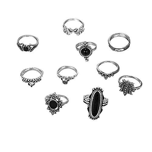 minjiSF 10 piezas de piedras preciosas retro anillos para mujer geometría apilable exquisito diamante de alta calidad Vintage delicioso anillo de joyería (multicolor)