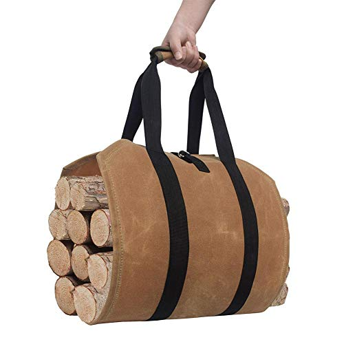 For Sale! Sundlight Waxed Canvas Firewood Log Carrier Tote Bag Canvas Firewood Log Carrier Durable F...