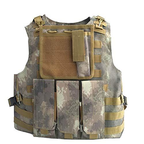 QWERBAM Gilet tactique militaire CS Wargame Outdoor Airsoft Support de disque Multicam Army Molle Mag Ammo Poitrine Gilet de paintball Fashion Ajustable (Couleur : Atacs Fg, Taille : unique)