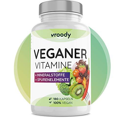 VROODY Vitamine für Veganer und Vegetarier - 180 Kapseln (6 Monatsvorrat) - mit Vitamin B12, B2, D3, Calcium, Eisen, Zink, Jod & L-Lysin - Your daily vegan supplements