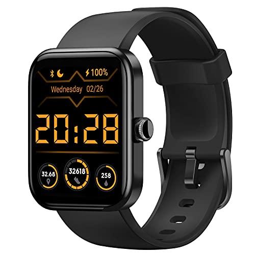 "CUBOT Smartwatch, 1.7"" pantalla táctil, Fitness Tracker con Alexa, oxímetro de pulso(SpO2), monitor de frecuencia cardíaca y de sueño, reloj inteligente deportivo Impermeable 5ATM con podómetro, negro"