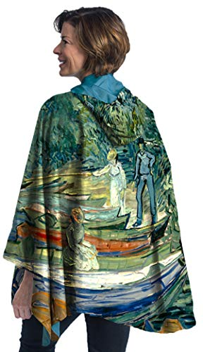 RainCaper van Gogh Bank of Oise Womens Rain Cape Poncho with Hood Reversible
