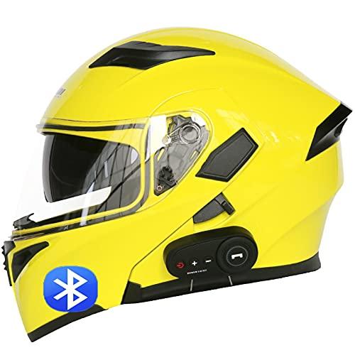 Casco de Moto Modular Bluetooth Integrado Cascos Masculinos y Femeninos Certificación ECE con Función de Respuesta Automática con Transpirable y Cómoda B,M=57~58cm